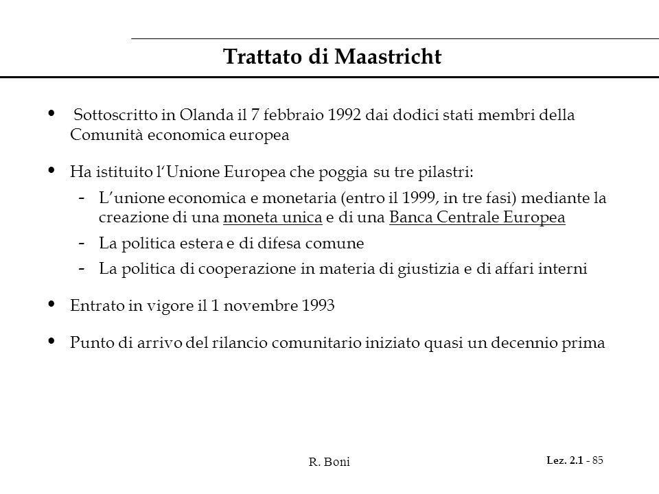 R. Boni Lez. 2.1 - 85 Trattato di Maastricht Sottoscritto in Olanda il 7 febbraio 1992 dai dodici stati membri della Comunità economica europea Ha ist