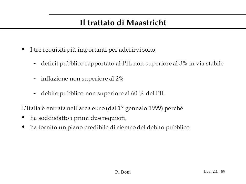 R. Boni Lez. 2.1 - 89 Il trattato di Maastricht I tre requisiti più importanti per aderirvi sono - deficit pubblico rapportato al PIL non superiore al