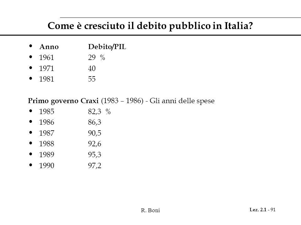R. Boni Lez. 2.1 - 91 Come è cresciuto il debito pubblico in Italia? AnnoDebito/PIL 196129 % 197140 198155 Primo governo Craxi (1983 – 1986) - Gli ann