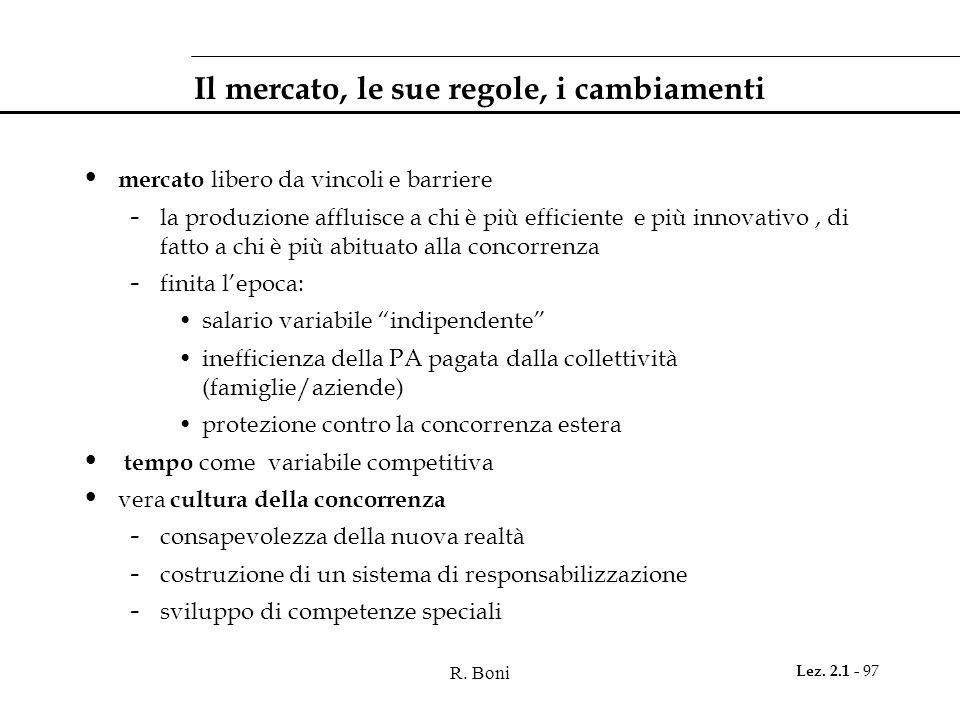 R. Boni Lez. 2.1 - 97 Il mercato, le sue regole, i cambiamenti mercato libero da vincoli e barriere - la produzione affluisce a chi è più efficiente e