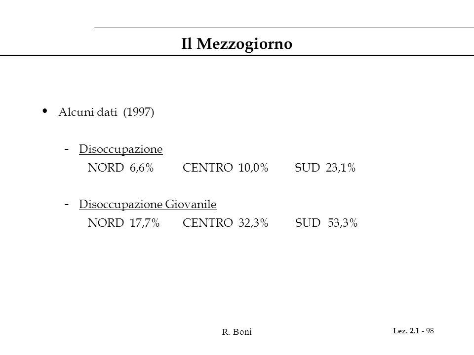 R. Boni Lez. 2.1 - 98 Il Mezzogiorno Alcuni dati (1997) - Disoccupazione NORD 6,6%CENTRO 10,0% SUD 23,1% - Disoccupazione Giovanile NORD 17,7%CENTRO 3