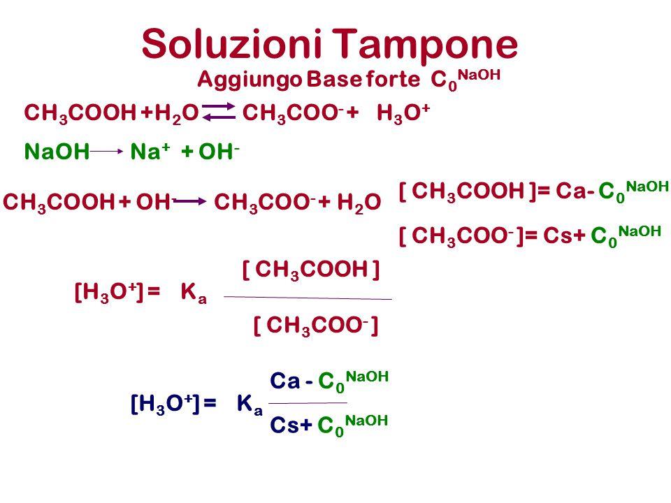 Soluzioni Tampone KaKa [ CH 3 COO - ] [H 3 O + ] = [ CH 3 COOH ] KaKa Ca - C 0 NaOH [H 3 O + ] = Cs+ C 0 NaOH [ CH 3 COOH ]= Ca- C 0 NaOH [ CH 3 COO - ]= Cs+ C 0 NaOH Aggiungo Base forte C 0 NaOH CH 3 COOH + OH - CH 3 COO - +H2OH2O NaOHNa + + OH - CH 3 COOH +H 2 OCH 3 COO - +H3O+H3O+