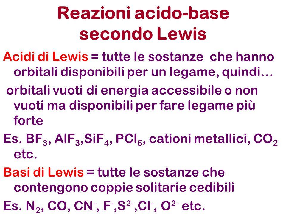 Acidi di Lewis = tutte le sostanze che hanno orbitali disponibili per un legame, quindi… orbitali vuoti di energia accessibile o non vuoti ma disponibili per fare legame più forte Es.