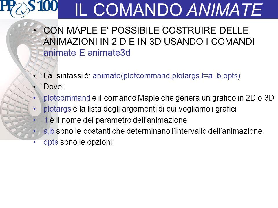 IL COMANDO ANIMATE CON MAPLE E' POSSIBILE COSTRUIRE DELLE ANIMAZIONI IN 2 D E IN 3D USANDO I COMANDI animate E animate3d La sintassi è: animate(plotcommand,plotargs,t=a..b,opts) Dove: plotcommand è il comando Maple che genera un grafico in 2D o 3D plotargs è la lista degli argomenti di cui vogliamo i grafici t è il nome del parametro dell'animazione a,b sono le costanti che determinano l'intervallo dell'animazione opts sono le opzioni
