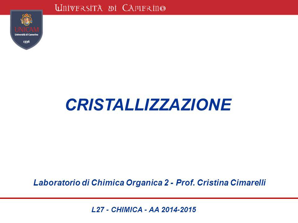 CRISTALLIZZAZIONE Laboratorio di Chimica Organica 2 - Prof. Cristina Cimarelli L27 - CHIMICA - AA 2014-2015