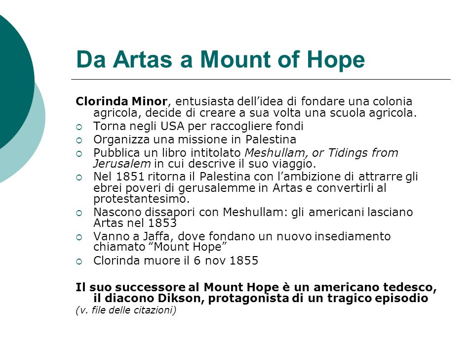 Da Artas a Mount of Hope Clorinda Minor, entusiasta dell'idea di fondare una colonia agricola, decide di creare a sua volta una scuola agricola.