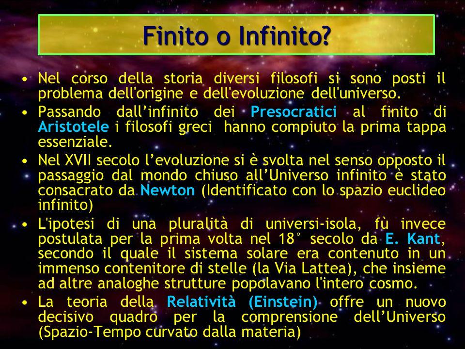 Finito o Infinito? Nel corso della storia diversi filosofi si sono posti il problema dell'origine e dell'evoluzione dell'universo. Passando dall'infin