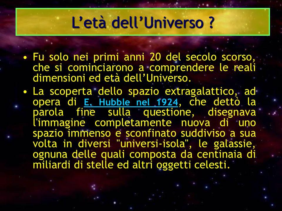 Fu solo nei primi anni 20 del secolo scorso, che si cominciarono a comprendere le reali dimensioni ed età dell'Universo. La scoperta dello spazio extr