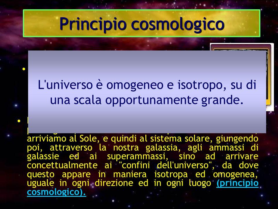 Principio cosmologico La moderna cosmologia i fornisce la configurazione di un Universo strutturato in livelli gerarchici. Partendo infatti dalla Terr