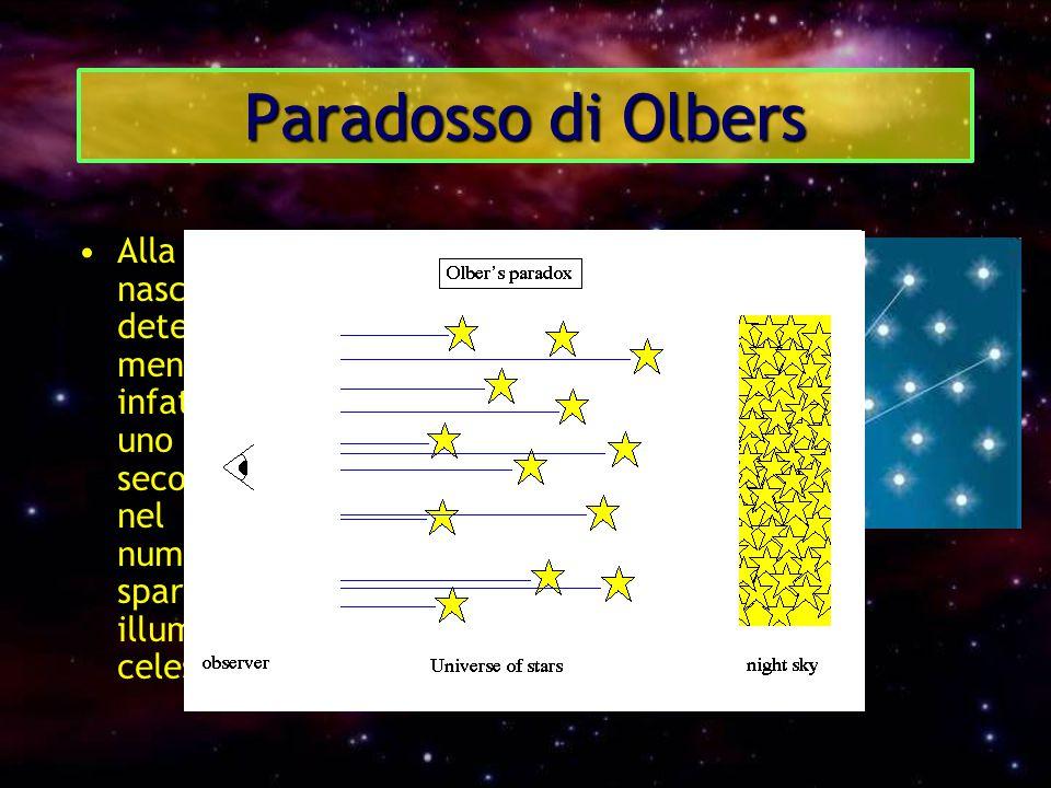 Paradosso di Olbers Alla luce di queste considerazioni, nasceva allora l'esigenza di determinare se l'universo fosse o meno dotato di limiti. In passa