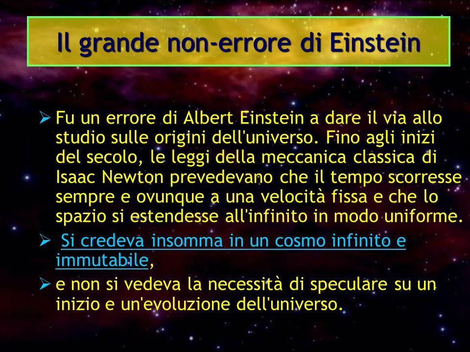  Fu un errore di Albert Einstein a dare il via allo studio sulle origini dell'universo. Fino agli inizi del secolo, le leggi della meccanica classica