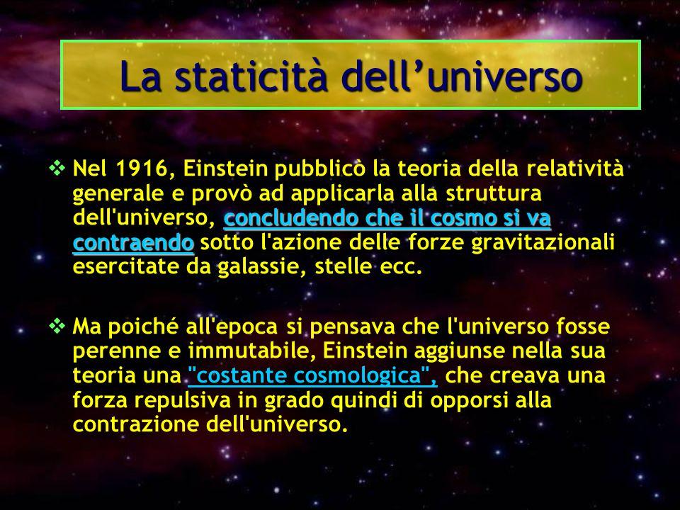 concludendo che il cosmo si va contraendo  Nel 1916, Einstein pubblicò la teoria della relatività generale e provò ad applicarla alla struttura dell'