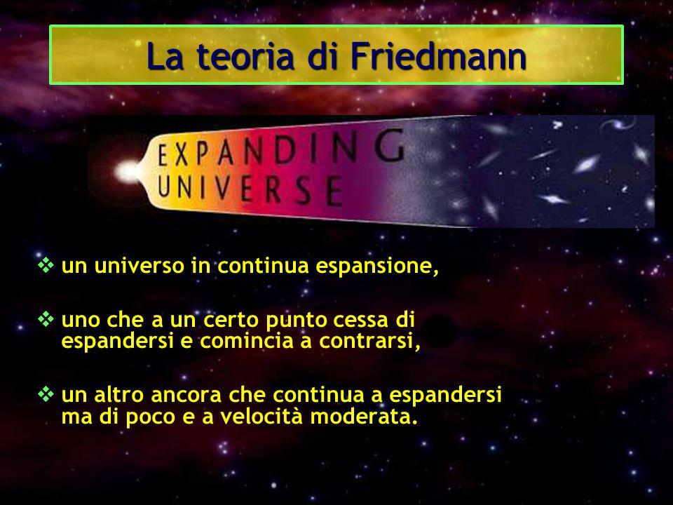 La teoria di Friedmann  un universo in continua espansione,  uno che a un certo punto cessa di espandersi e comincia a contrarsi,  un altro ancora