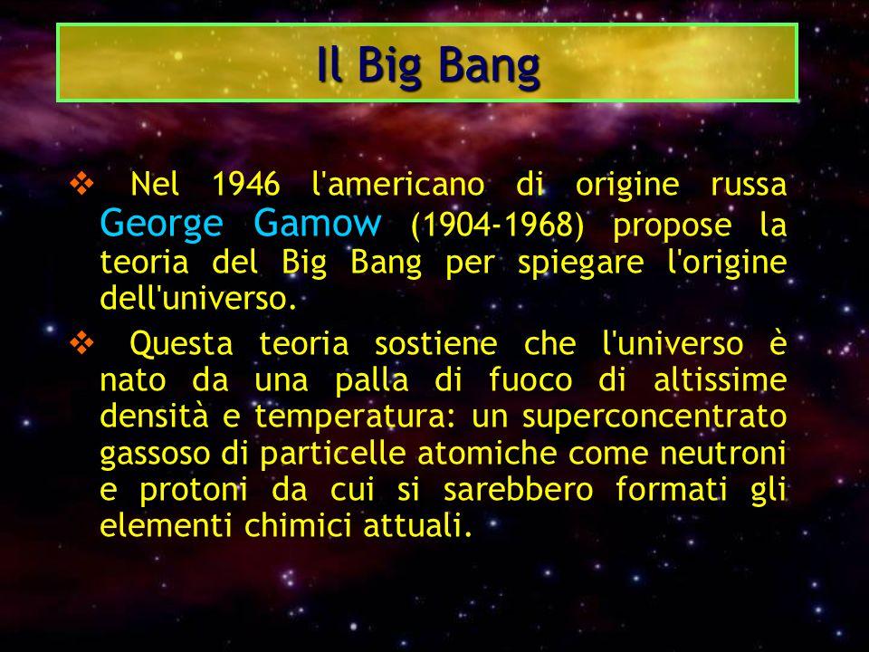  Nel 1946 l'americano di origine russa George Gamow (1904-1968) propose la teoria del Big Bang per spiegare l'origine dell'universo.  Questa teoria