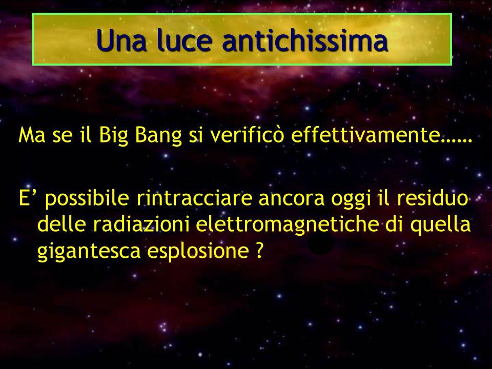 Ma se il Big Bang si verificò effettivamente…… E' possibile rintracciare ancora oggi il residuo delle radiazioni elettromagnetiche di quella gigantesc