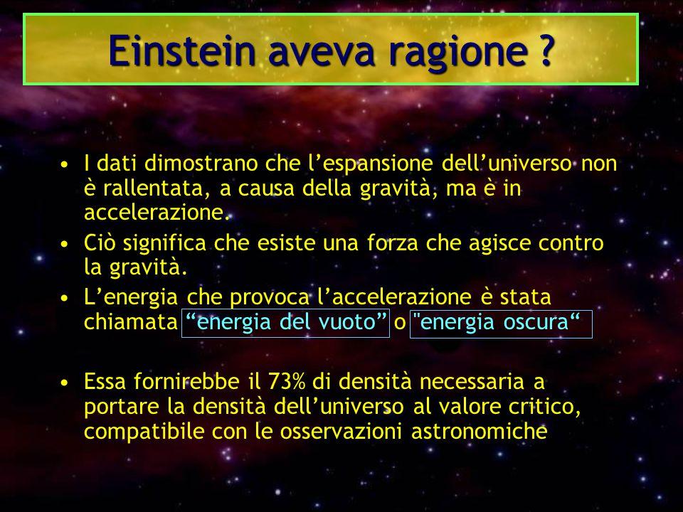 I dati dimostrano che l'espansione dell'universo non è rallentata, a causa della gravità, ma è in accelerazione. Ciò significa che esiste una forza ch