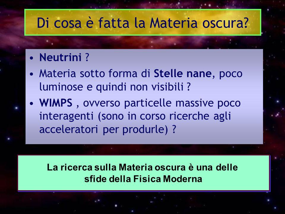 Di cosa è fatta la Materia oscura? Neutrini ? Materia sotto forma di Stelle nane, poco luminose e quindi non visibili ? WIMPS, ovverso particelle mass