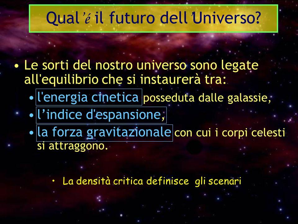 Le sorti del nostro universo sono legate all'equilibrio che si instaurerà tra: l'energia cinetica posseduta dalle galassie, l'indice d'espansione, la