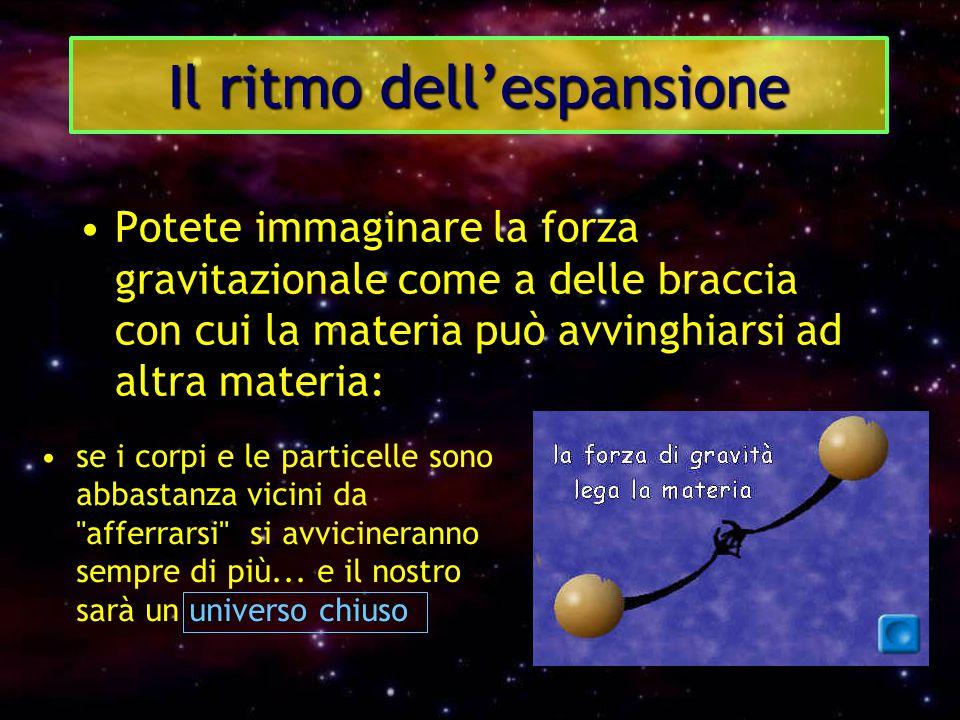 Il ritmo dell'espansione Potete immaginare la forza gravitazionale come a delle braccia con cui la materia può avvinghiarsi ad altra materia: se i cor