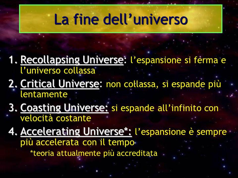 1.Recollapsing Universe 1.Recollapsing Universe: l'espansione si ferma e l'universo collassa 2.Critical Universe 2.Critical Universe: non collassa, si