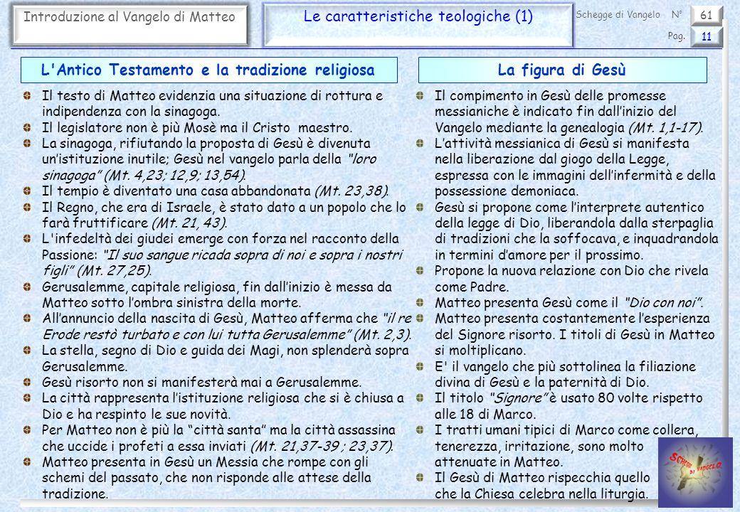 61 Introduzione al Vangelo di Matteo Le caratteristiche teologiche (1) 11 Pag. Schegge di VangeloN° Il testo di Matteo evidenzia una situazione di rot