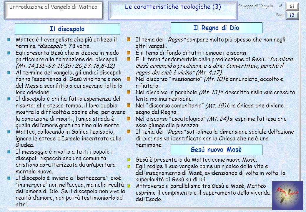 61 Introduzione al Vangelo di Matteo Le caratteristiche teologiche (3) 13 Pag. Schegge di VangeloN° Matteo è l'evangelista che più utilizza il termine