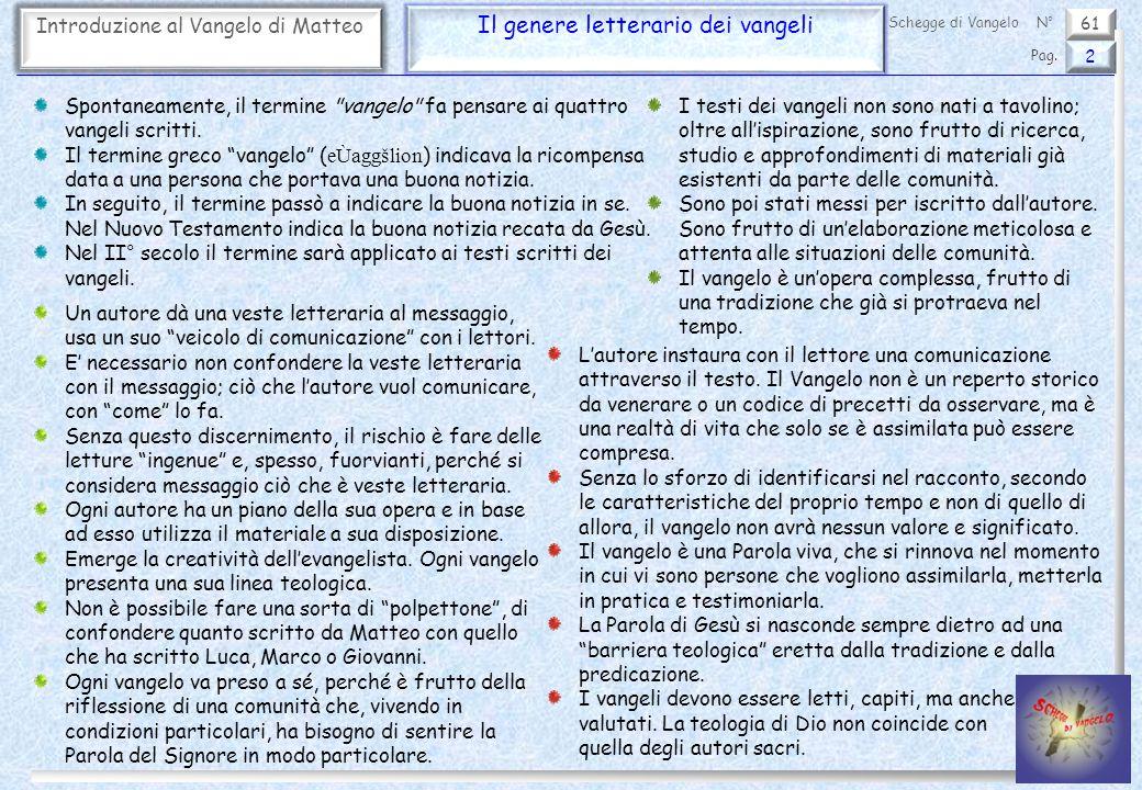 61 Introduzione al Vangelo di Matteo Il genere letterario dei vangeli 2 Pag. Schegge di VangeloN° Spontaneamente, il termine