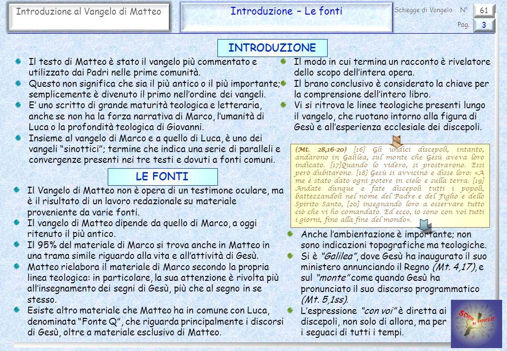 61 Introduzione al Vangelo di Matteo Introduzione – Le fonti 3 Pag. Schegge di VangeloN° Il testo di Matteo è stato il vangelo più commentato e utiliz