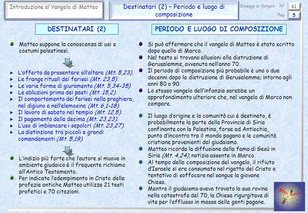 61 Introduzione al Vangelo di Matteo Destinatari (2) – Periodo e luogo di composizione 5 Pag. Schegge di VangeloN° Matteo suppone la conoscenza di usi
