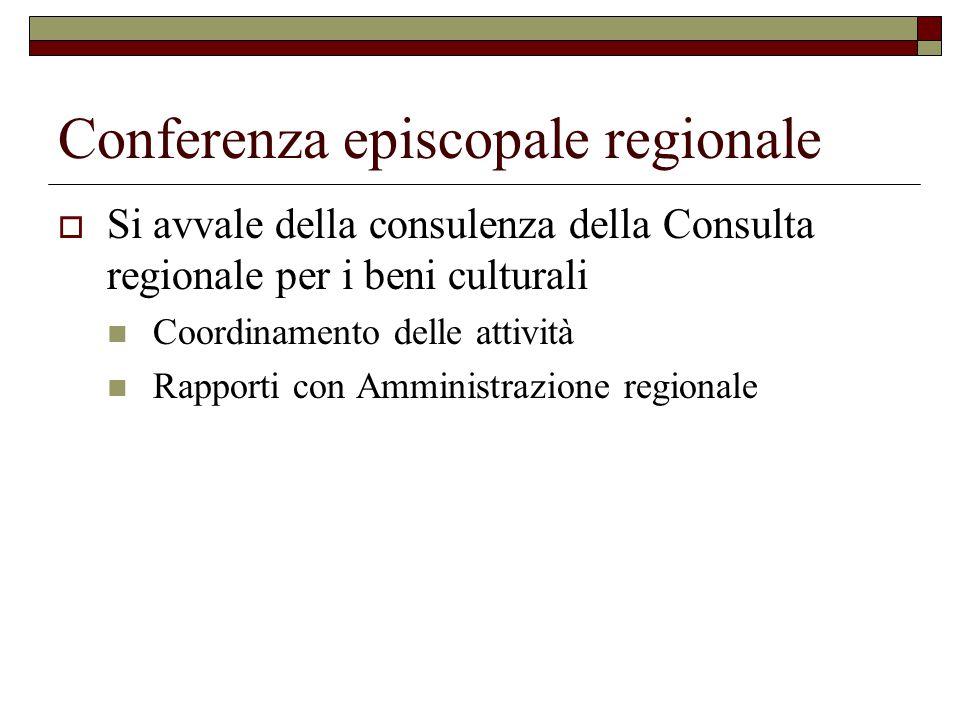 Conferenza episcopale regionale  Si avvale della consulenza della Consulta regionale per i beni culturali Coordinamento delle attività Rapporti con Amministrazione regionale