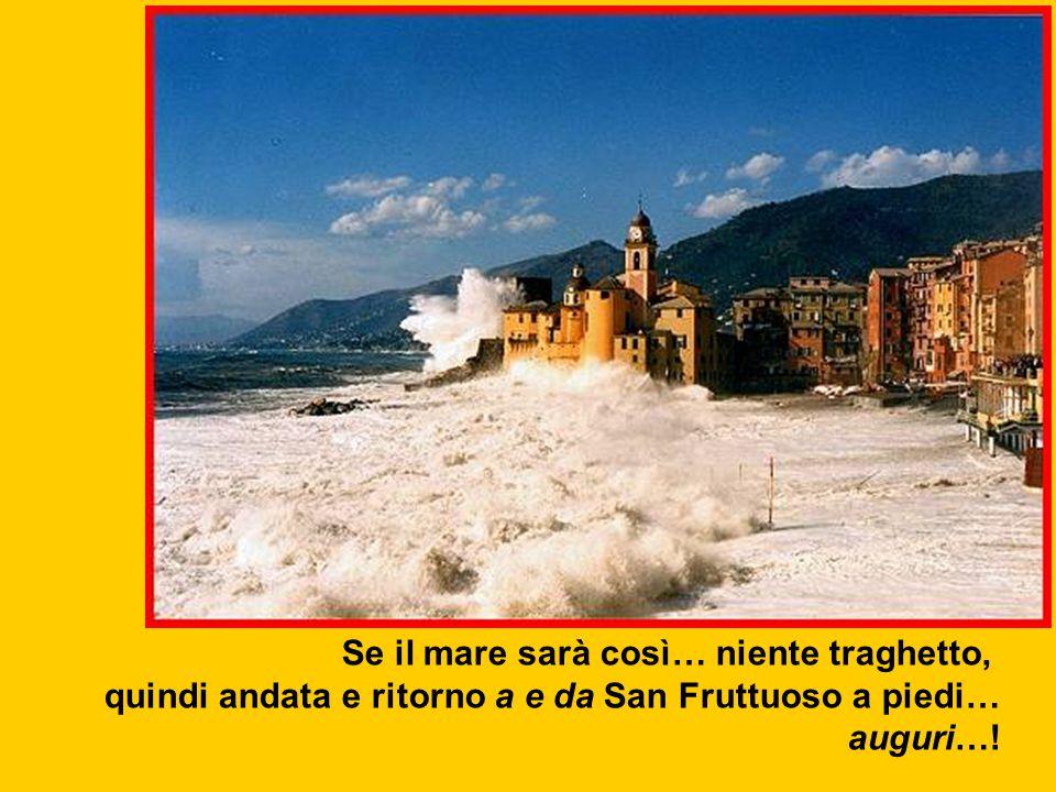 Se il mare sarà così… niente traghetto, quindi andata e ritorno a e da San Fruttuoso a piedi… auguri…!