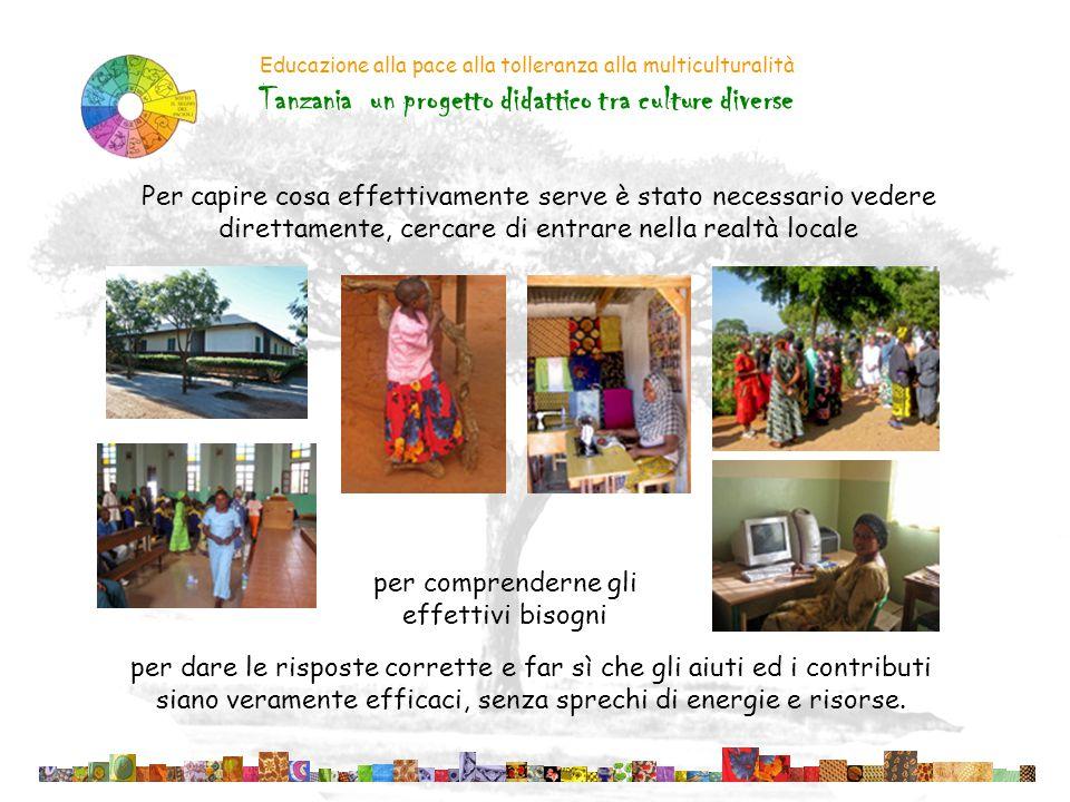 Educazione alla pace alla tolleranza alla multiculturalità Tanzania un progetto didattico tra culture diverse Per capire cosa effettivamente serve è s