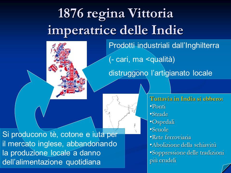1876 regina Vittoria imperatrice delle Indie Prodotti industriali dall'Inghilterra (- cari, ma <qualità) distruggono l'artigianato locale Si producono