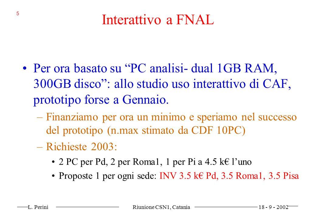 """L. Perini Riunione CSN1, Catania 18 - 9 - 2002 5 Interattivo a FNAL Per ora basato su """"PC analisi- dual 1GB RAM, 300GB disco"""": allo studio uso interat"""