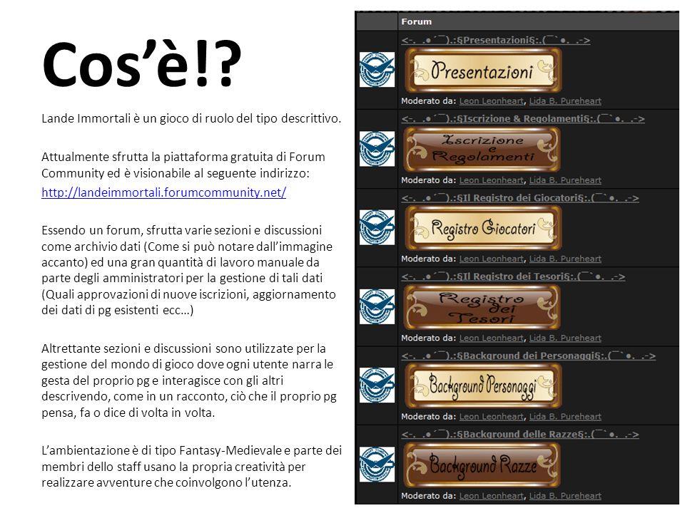 Cos'è!. Lande Immortali è un gioco di ruolo del tipo descrittivo.