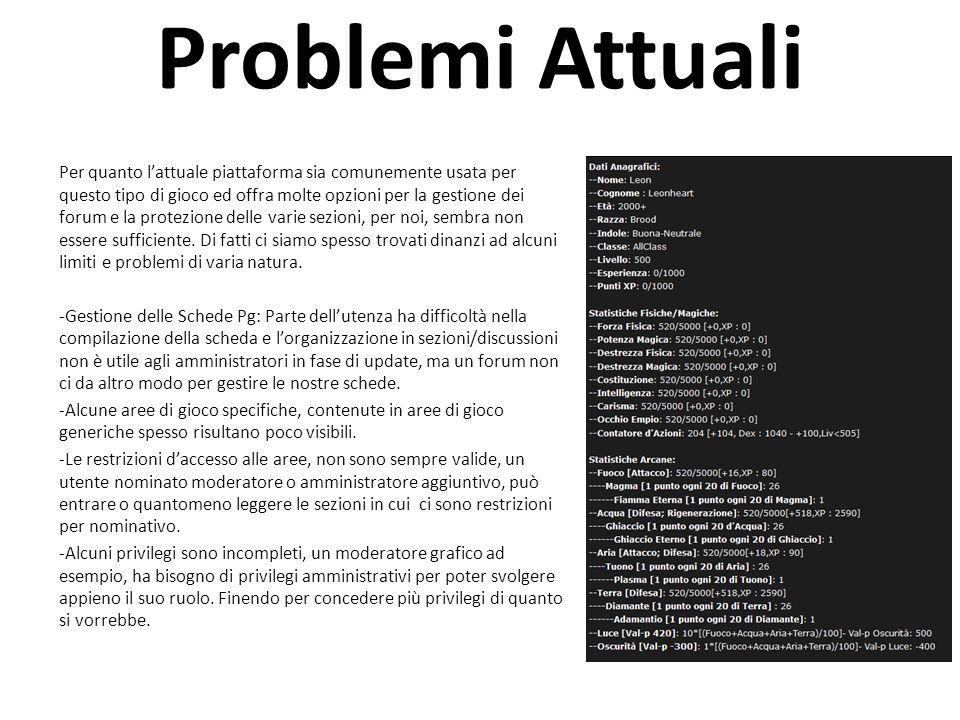 Problemi Attuali Per quanto l'attuale piattaforma sia comunemente usata per questo tipo di gioco ed offra molte opzioni per la gestione dei forum e la protezione delle varie sezioni, per noi, sembra non essere sufficiente.