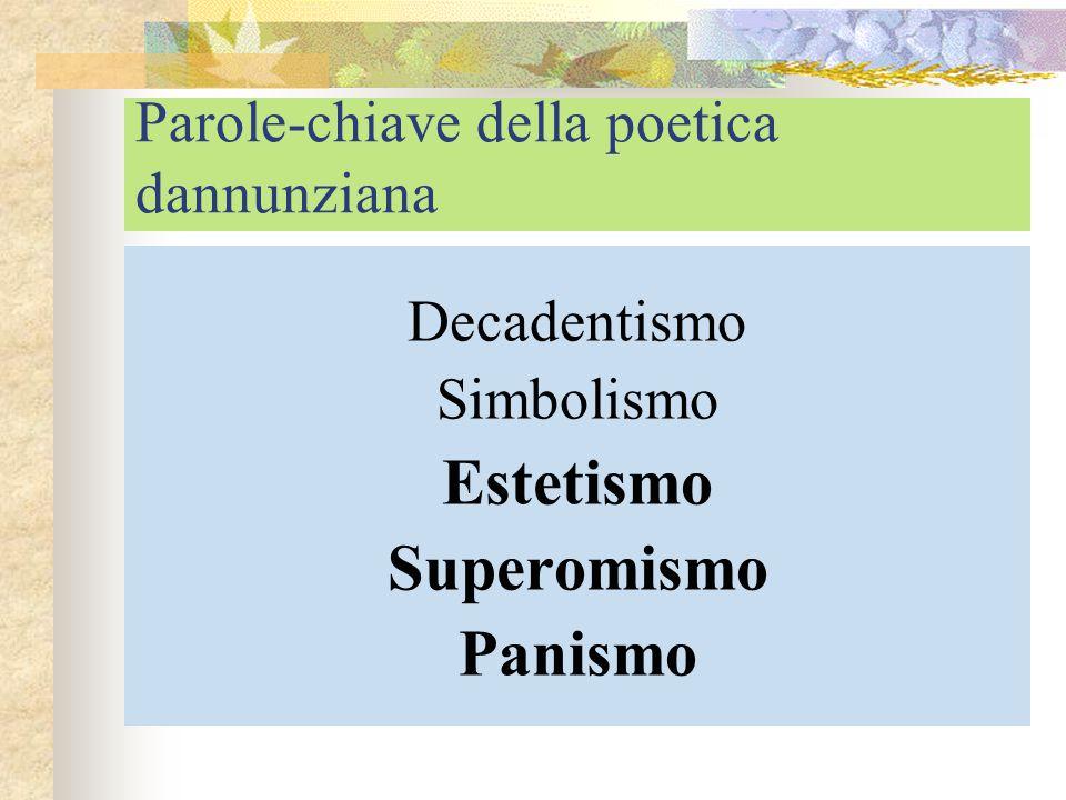 Parole-chiave della poetica dannunziana Decadentismo Simbolismo Estetismo Superomismo Panismo