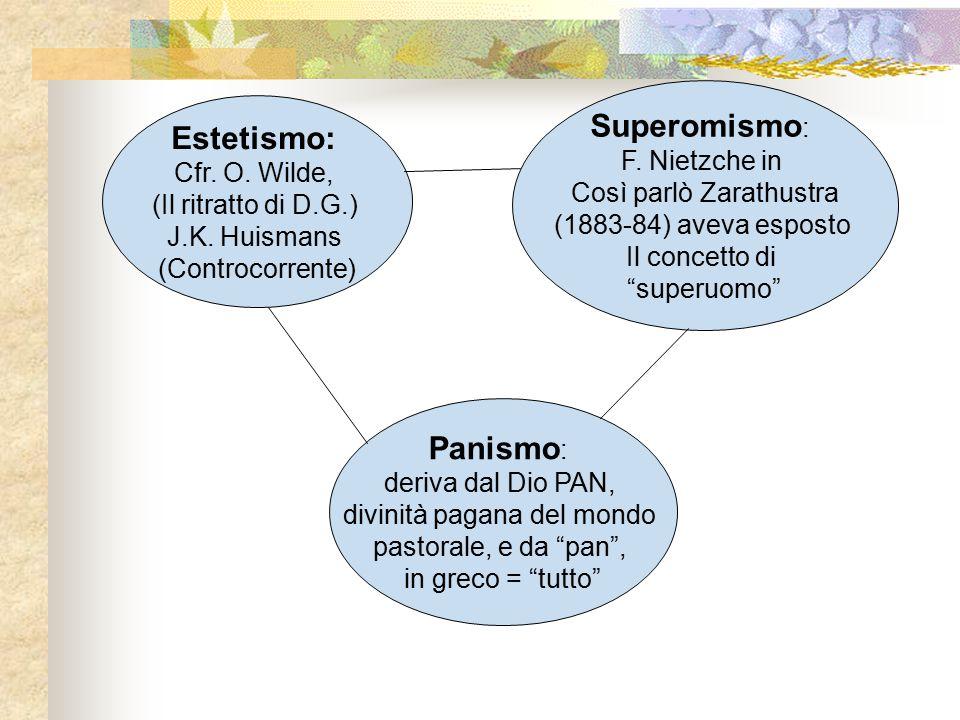 Estetismo: Cfr. O. Wilde, (Il ritratto di D.G.) J.K. Huismans (Controcorrente) Panismo : deriva dal Dio PAN, divinità pagana del mondo pastorale, e da