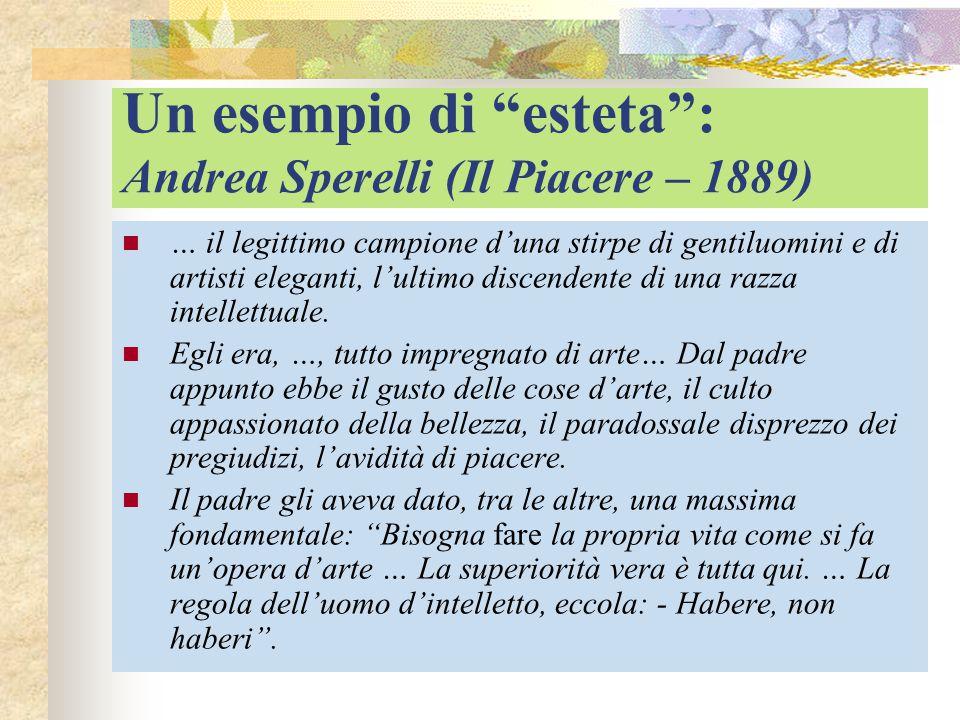 """Un esempio di """"esteta"""": Andrea Sperelli (Il Piacere – 1889) … il legittimo campione d'una stirpe di gentiluomini e di artisti eleganti, l'ultimo disce"""