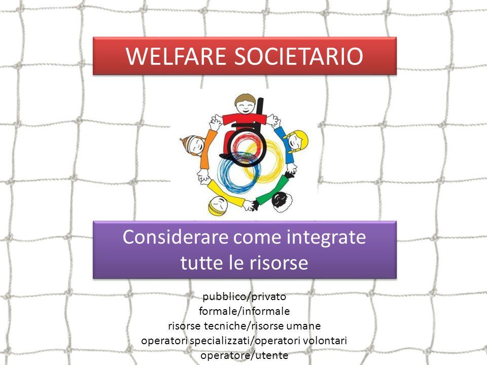 WELFARE SOCIETARIO Considerare come integrate tutte le risorse Considerare come integrate tutte le risorse pubblico/privato formale/informale risorse