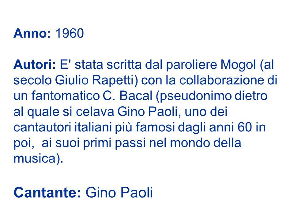 Anno: 1960 Autori: E stata scritta dal paroliere Mogol (al secolo Giulio Rapetti) con la collaborazione di un fantomatico C.