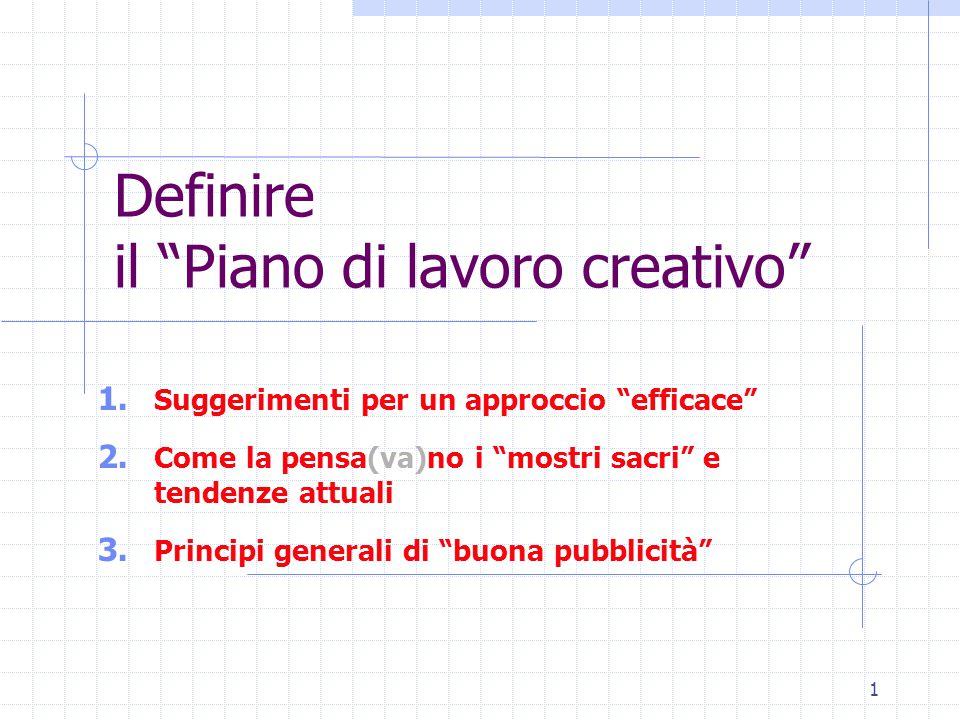 """1 Definire il """"Piano di lavoro creativo"""" 1. Suggerimenti per un approccio """"efficace"""" 2. Come la pensa(va)no i """"mostri sacri"""" e tendenze attuali 3. Pri"""