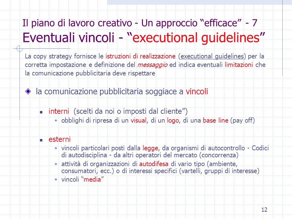 """12 Il piano di lavoro creativo - Un approccio """"efficace"""" - 7 Eventuali vincoli - """"executional guidelines"""" La copy strategy fornisce le istruzioni di r"""