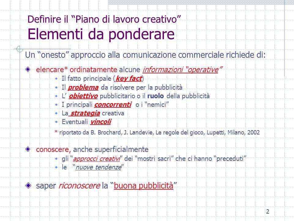 """2 Definire il """"Piano di lavoro creativo"""" Elementi da ponderare Un """"onesto"""" approccio alla comunicazione commerciale richiede di: elencare* ordinatamen"""
