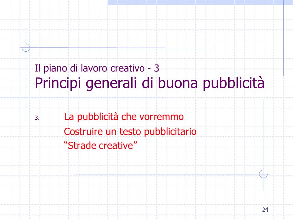 24 Il piano di lavoro creativo - 3 Principi generali di buona pubblicità 3.