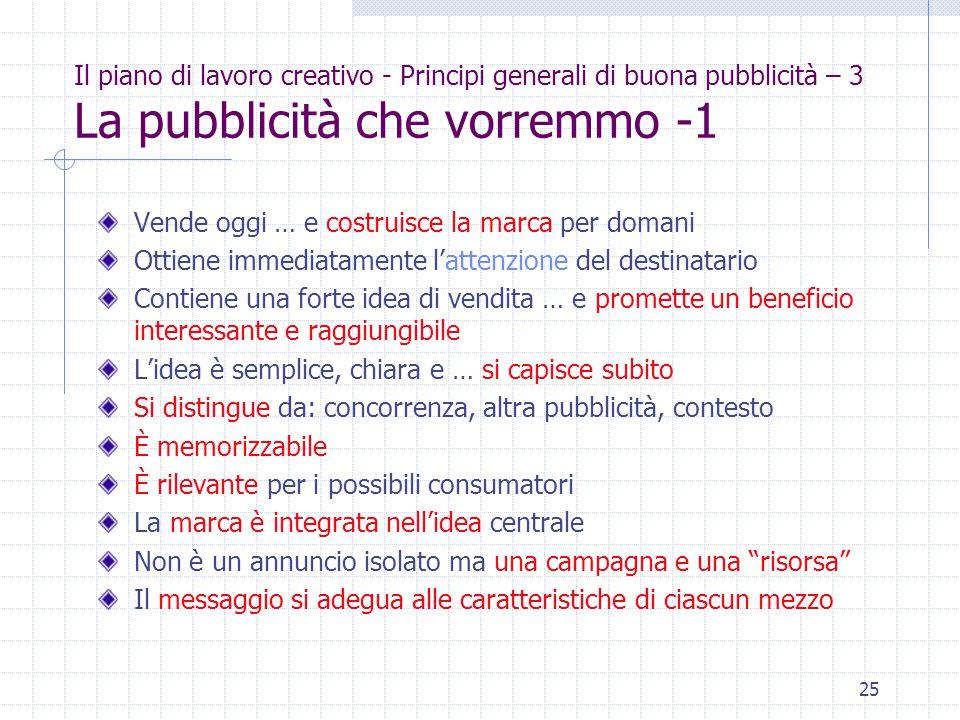 25 Il piano di lavoro creativo - Principi generali di buona pubblicità – 3 La pubblicità che vorremmo -1 Vende oggi … e costruisce la marca per domani