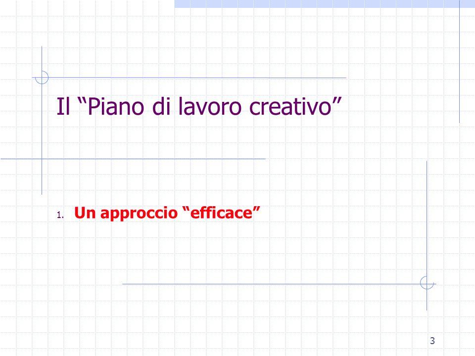 3 Il Piano di lavoro creativo 1. Un approccio efficace