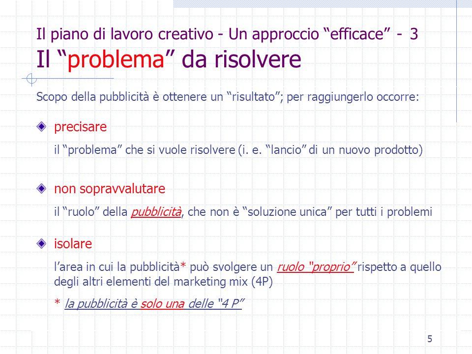 5 Il piano di lavoro creativo - Un approccio efficace - 3 Il problema da risolvere Scopo della pubblicità è ottenere un risultato ; per raggiungerlo occorre: precisare il problema che si vuole risolvere (i.