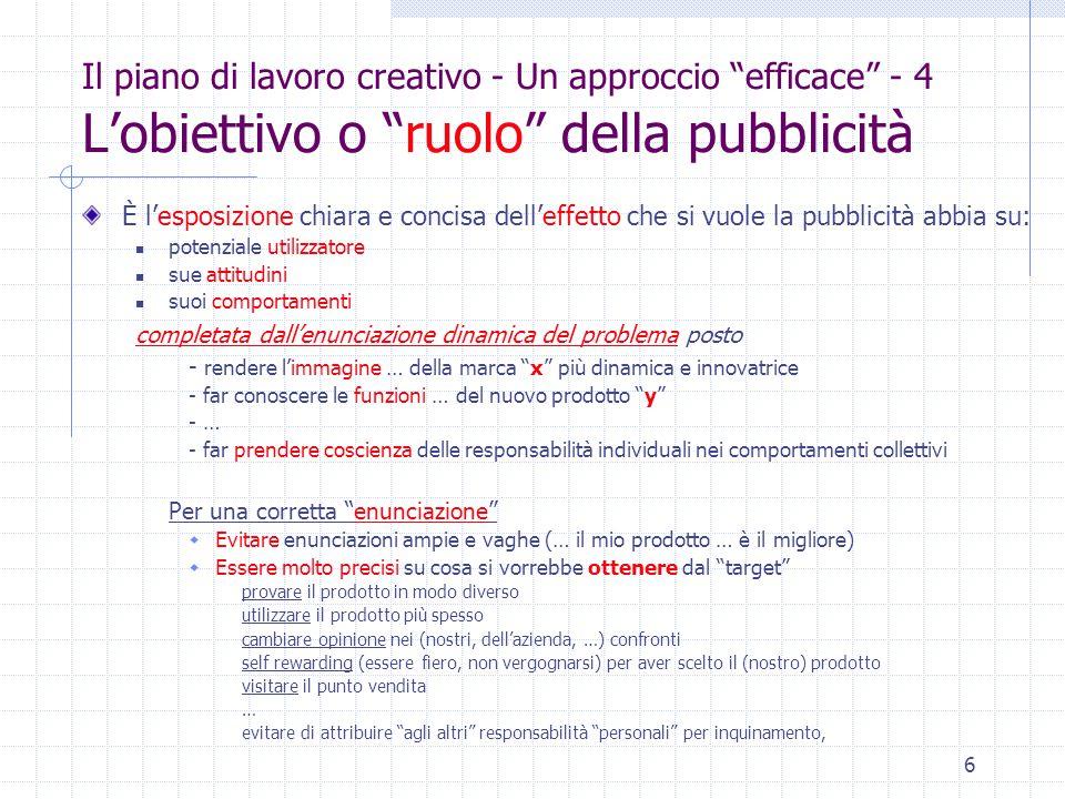 """6 Il piano di lavoro creativo - Un approccio """"efficace"""" - 4 L'obiettivo o """"ruolo"""" della pubblicità È l'esposizione chiara e concisa dell'effetto che s"""