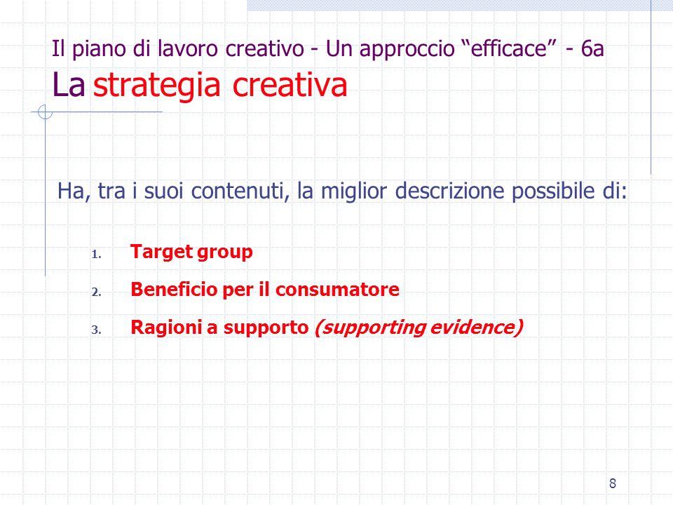 8 Il piano di lavoro creativo - Un approccio efficace - 6a La strategia creativa Ha, tra i suoi contenuti, la miglior descrizione possibile di: 1.
